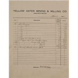 Yellow Aster Mining & Milling Co. Assayer's Report, 1918