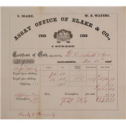 Blake & Co. Assay Office Memorandum, 1864 (Famous for Ingots)