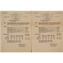 Vandercook Co. Assay Results for Mossback Mine (Arizona)