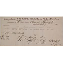 G.W. Bell Assay Memorandum for Savage Mine, Virginia City, Nevada, 1863