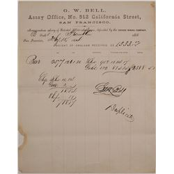 G.W. Bell Assay Memorandum for Savage Mine, Virginia City, Nevada, 1864
