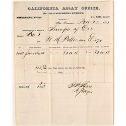 Very Rare California Assay Office Ore Memorandum, 1871, Possibly for Comstock Silver