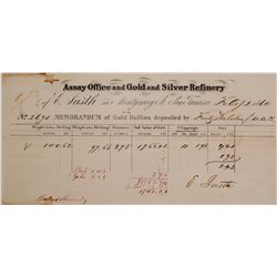 E. Justh Assay Office Memorandum for Gold Deposit by WC Ralston, 1860