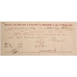 S. Molitor & Co. Gold Assay for Wells Fargo, Folsom/Morman Bar Area, 1860