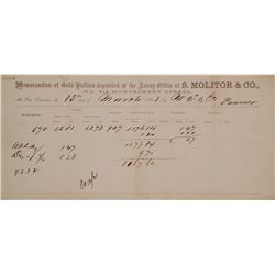S. Molitor & Co. Gold Assay for Wells Fargo, Folsom/Morman Bar Area, 1863