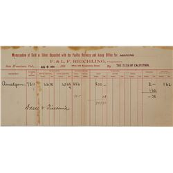 1891 Rare F. & L. F. Reichling Assay Report