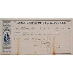 Geo. E. Rogers Assay Office Memorandum, 1869