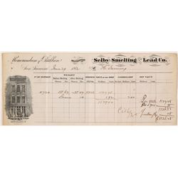 Selby Smelting & Lead Co. Assay Memorandum, 1882