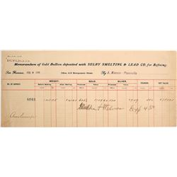 Selby Smelting & Lead Co. Assay Memorandum for Placerville Placer Gold, 1899