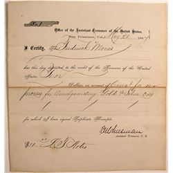 US Treasury in SF Receipt for Gold & Silver Ore Refining Patent, 1867