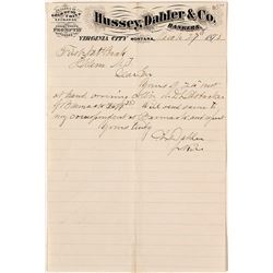 Hussey, Dahler & Co., Bankers & Dealers in Gold Dust Letterhead, Virginia City, Montana, 1873