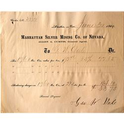 Manhattan Silver Mining Co. of Nevada Ore Receipt, 1869