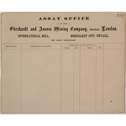 Eberhardt & Aurora Mining Co. Assay Office Sheet, c.1870s (Ghost Town)