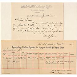 Two Documents for W.S. James, Gold Hill Assayer