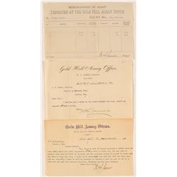 Three Documents for W.S. James, Gold Hill Assayer