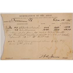 Gold Hill Assay Office Memorandum, 1885 for Overman Mine w/ Location Notes