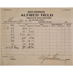 Alfred Held Assayer & Chemist Billhead, Goldfield, NV 1909
