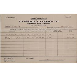 Ellsworth-Stevenson Co. Assay Certificate, Goldfield, NV.
