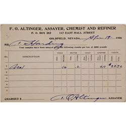 F.O. Altinger Assayer Report, Goldfield, NV 1906