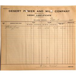 Desert Power & Mill Co. Assay Certificate, Millers, NV, 1915