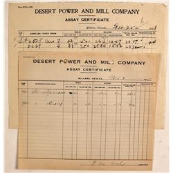 Desert Power & Mill Co. Assay Certificates, Millers, NV, 1908 & 1915