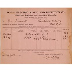 Electric Mining & Reduction Co. Assay Sheet, Reno, NV 1900