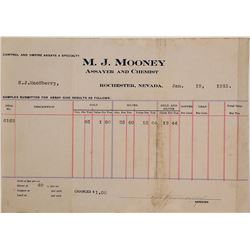 M.J. Mooney, Assayer & Chemist, Billhead, Rochester, NV 1915