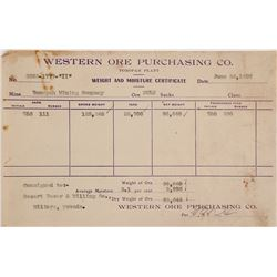 Western Ore Purchasing Co. Tonopah Assay Certificate, 1907
