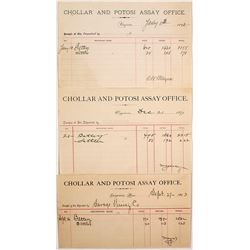 Three Different Chollar Potosi Assay Office Sheets
