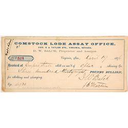 Comstock Lode Assay Office Receipt, 1876, D.W. Balch