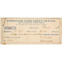 Second Comstock Lode Assay Office Receipt, 1876, D.W. Balch