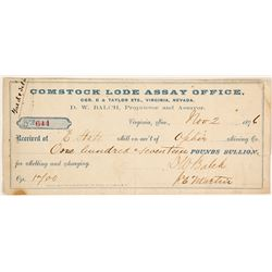 Second Comstock Lode Assay Office Receipt, 1876, D.W. Balch