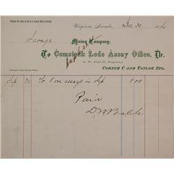 Comstock Lode Assay Office Billhead, 1876