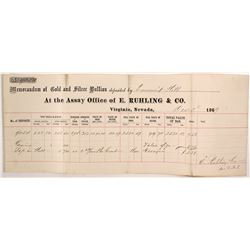 Ruhling & Co. Assay Memorandum for High-Grade Gold for Summit Mill, 1869, Virginia City, Nevada
