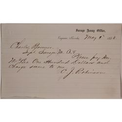 Savage Assay Office Receipt, Virginia City, Nevada, 1868