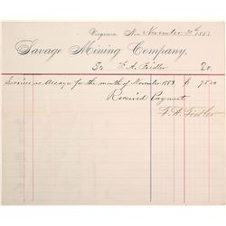 Savage Mining Co. Billhead Issued to Assayer 1883
