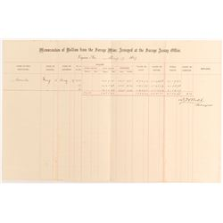 Very Rare Savage Assay Office Memorandum, Virginia City, Nevada, 1869