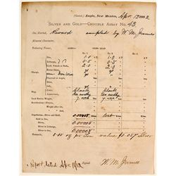 Rare Engle, New Mexico, Crucible Assay Receipt, 1882