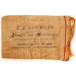 T.E. Simmons, Assayer & Metallurgist, Socorro, New Mexico, Cloth Bag