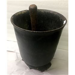 Large Cast Iron Mortar and Pestle