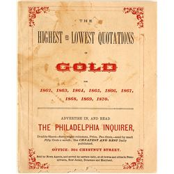 Booklet on US Gold Prices from 1862-1870