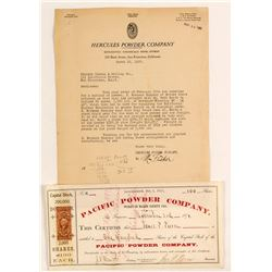 Pacific Powder Company Stock Certificate & Hercules Powder Letterhead