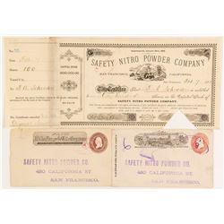 Safety Nitro Powder Company Stock Certificate and Two Wells Fargo Covers