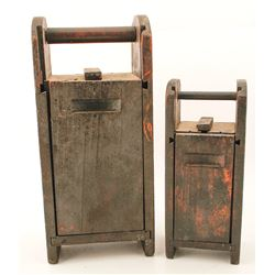 Two dynamite and cap tin carriers