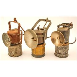 Three Different Carbide Mining Lamps: Acme, Big Boy, ITP