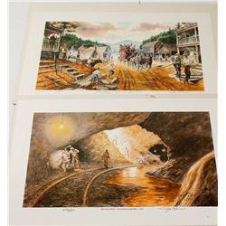 2 Dahlonega Mining Lithographs