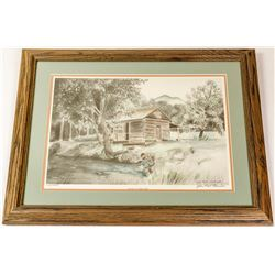 Panning at Coker Creek Lithograph