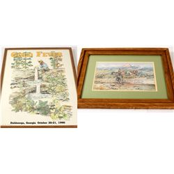 2 Framed Mining Prints: Montana and Georgia