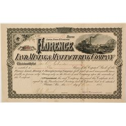 Florence Land Management & Manufacturing Company Stock Certificate