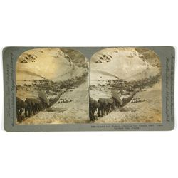 "Stereoview of the ""Golden Stair"" Trail, Chilkoot Pass"